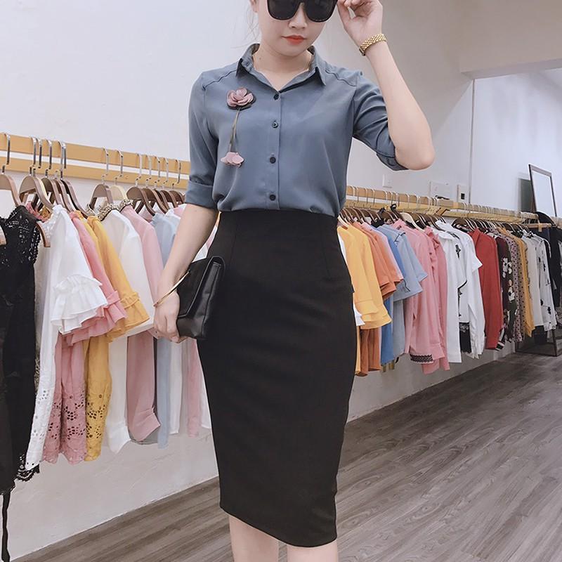 Chân váy bút chì công sở xẻ sau dáng ôm co giãn thoải mái thon gọn Cúc Fashion CV186