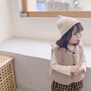 Áo khoác len lông cừu sát nách dày ấm áp phong cách Hàn Quốc xinh xắn cho bé gái từ 2-7 tuổi