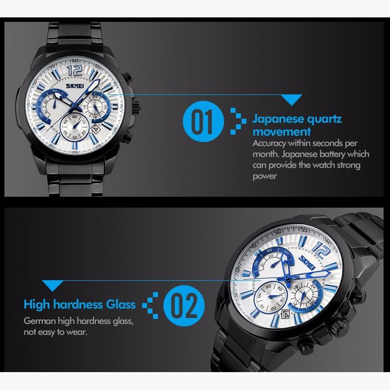 Đồng hồ nam SKMEI 9108 (mặt trắng) dây thép đen cao cấp