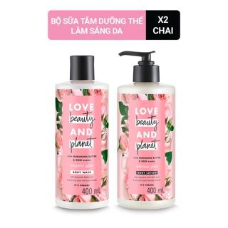Combo Love Beauty And Planet Sữa tắm Majestic Glow + Sữa dưỡng thể sáng da rạng rỡ Delicious Glow 400ml chai thumbnail