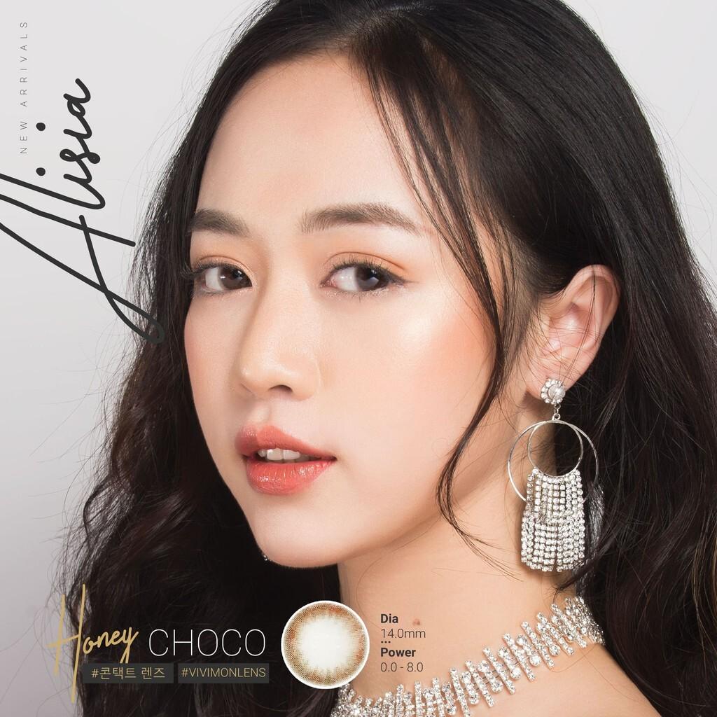 Kính áp tròng Hàn Quốc VIVIMON HONEY CHOCO nâu tự nhiên 14.0mm