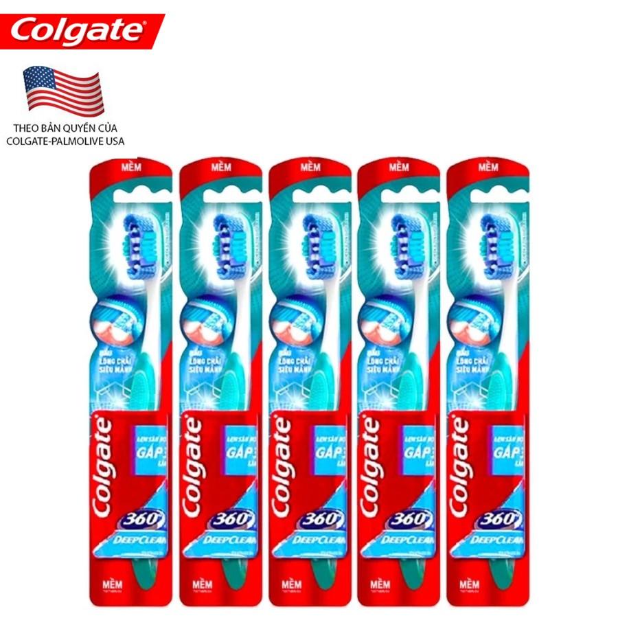 Bộ 5 bàn chải làm sạch toàn diện Colgate 360 deep clean (màu sắc ngẫu nhiên) - 5X360DEEPCLEAN