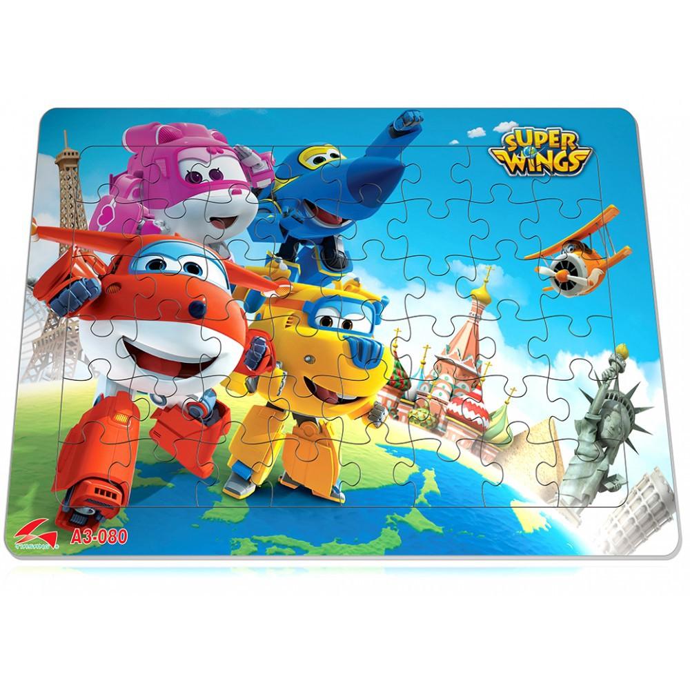 Tranh xếp hình A3, 48 mảnh ghép: Đội bay siêu đẳng, Hello kity, Conan, One Piece – Đồ chơi trí tuệ