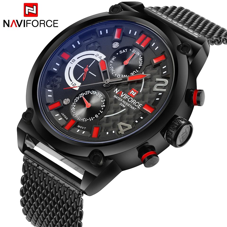NAVIFORCE NF9068 Men Sport Fashion Stainless Steel Band Analog Quartz Watch