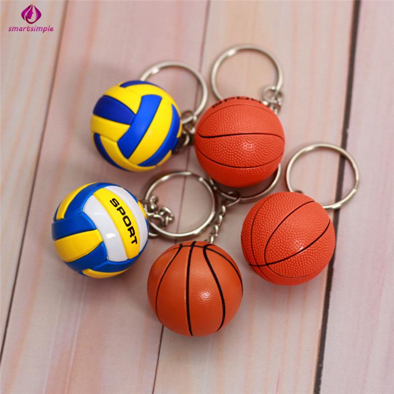 SS 1 PC Creative Simulation Sports Ball Volleyball Basketball Football Baseball Key Chain Jewelry Gift