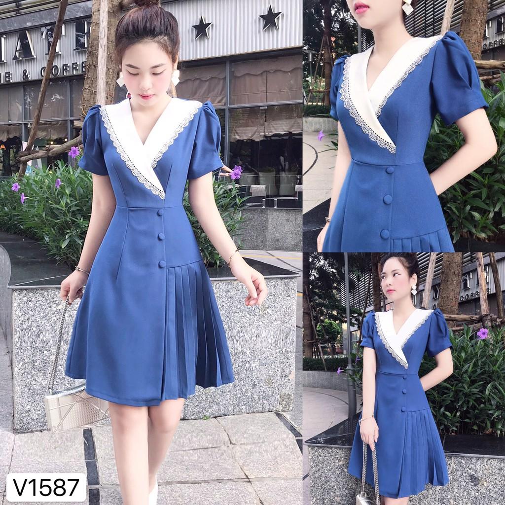 Váy xanh cổ trắng viền ren V1587 - Đẹp Shop DVC (Kèm ảnh thật trải sàn do shop tự chụp)
