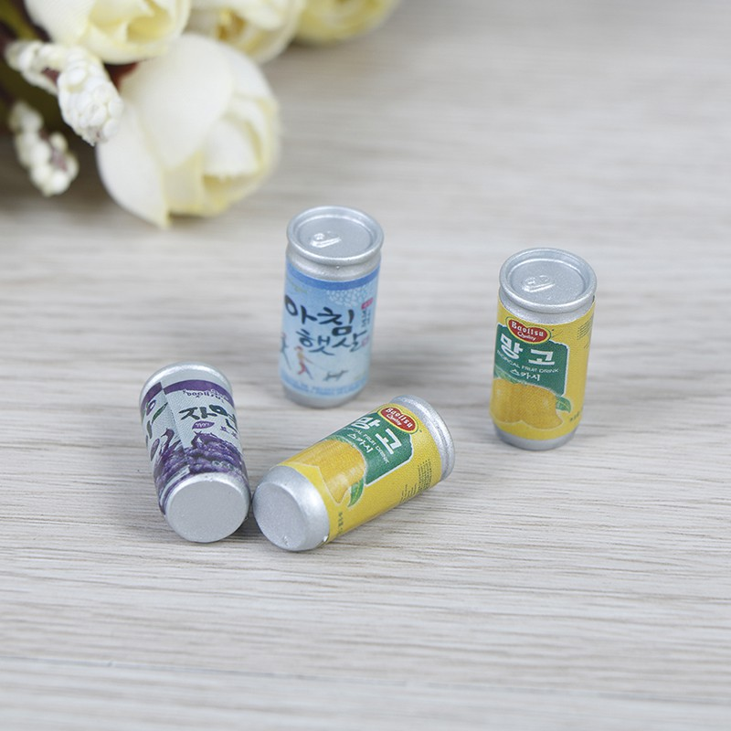 4Pcs 1:12 Dollhouse miniature drink cans fou doll house kitchen decorate