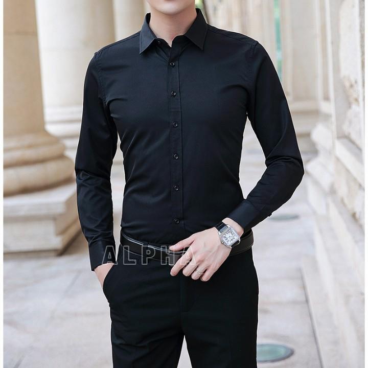 Áo sơ mi nam dài tay (màu đen), vải lụa thái chống nhăn cao cấp