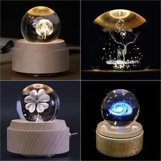 Hộp nhạc quả cầu pha lê 3D huyền ảo Bồ công anh/ thiên hà kèm hộp quà tặng sang trọng