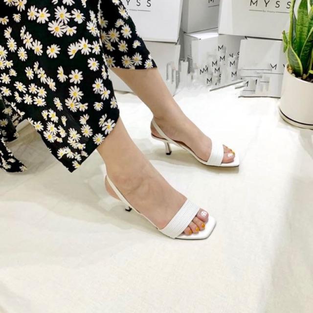 Giày mũi vuông tricky 6 phân thời trang đan dây