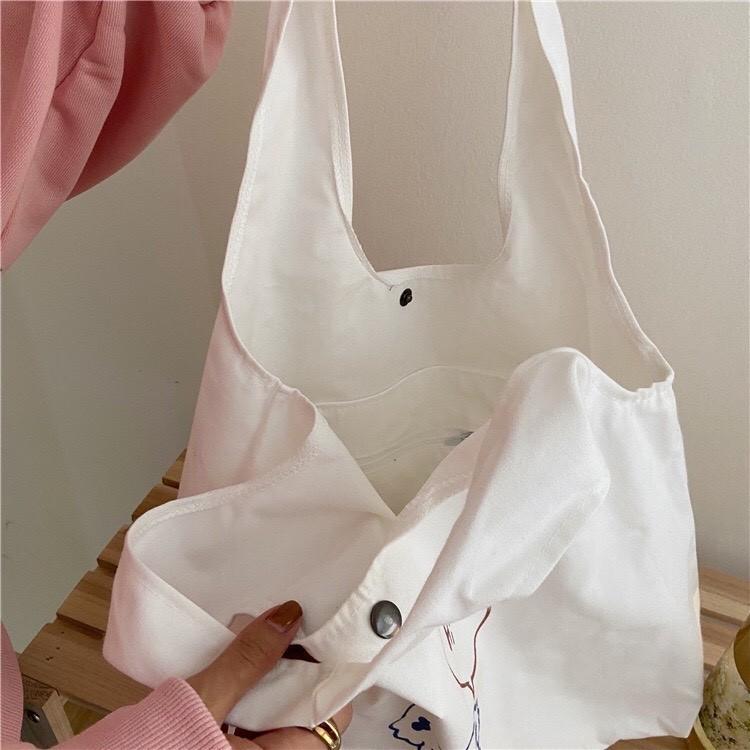 [HÀNG LOẠI 1 ] Túi vải tote liền thân cho nữ có ngăn phụ cúc bấm siêu hót