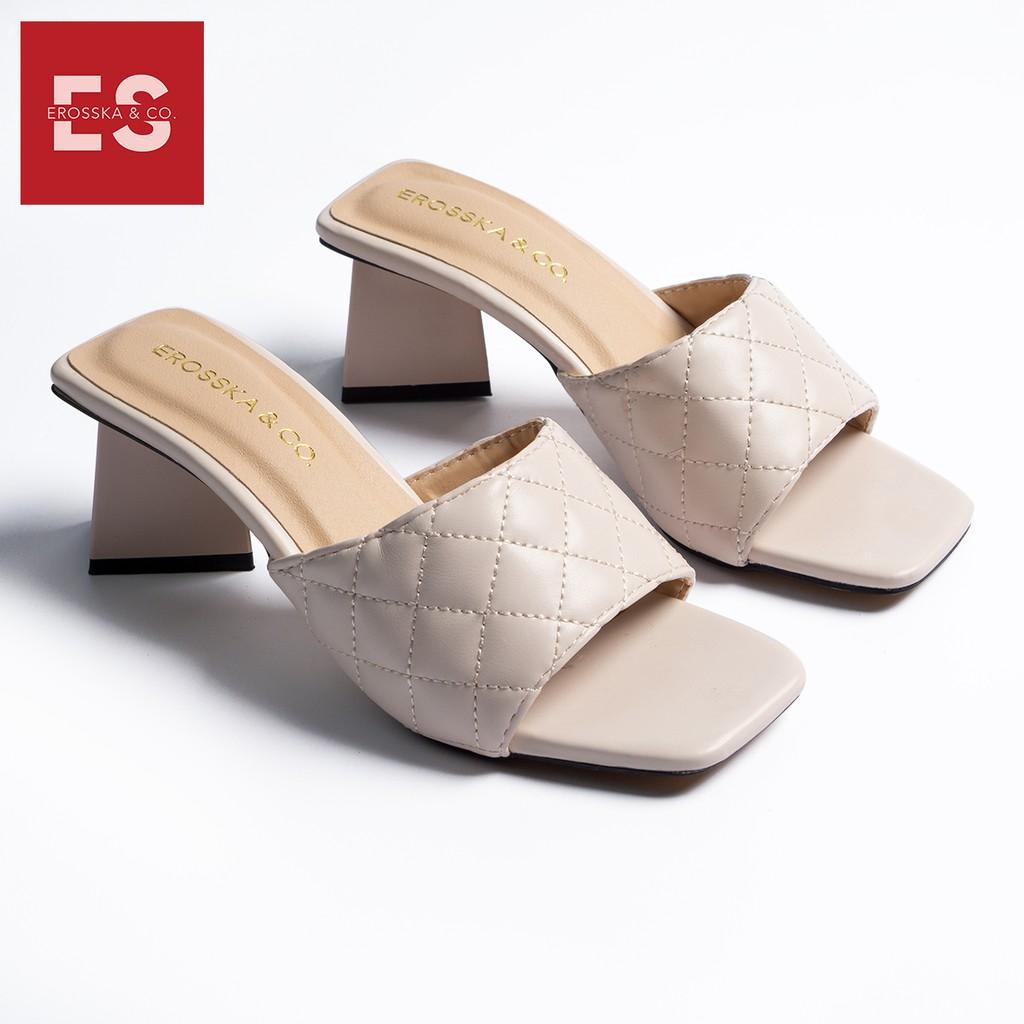 Dép cao gót Erosska thời trang mũi vuông quai ngang phối gót sơn gỗ kiểu dáng thanh lịch cao 5cm màu nude _ EM045