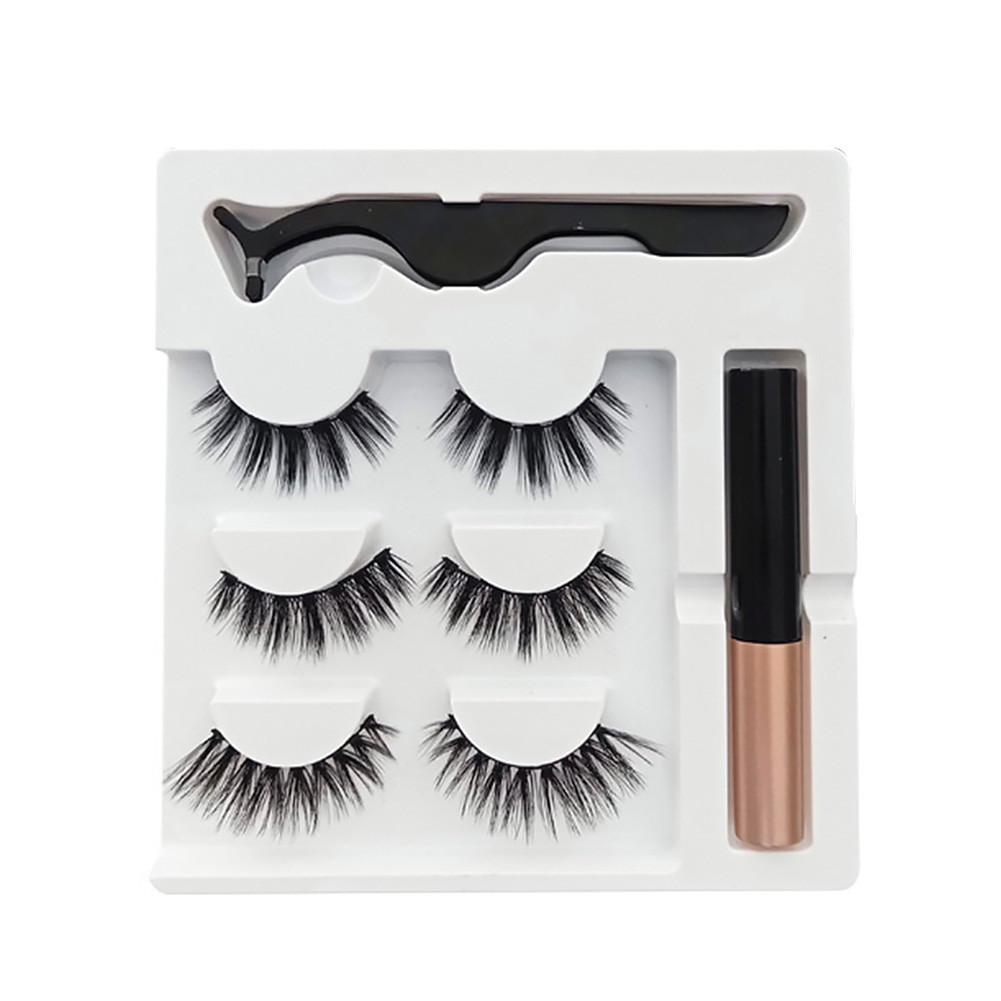 Liquid Eyeliner Make Up Waterproof Magnetic With Tweezer Reusable Extension Eyelashes Set