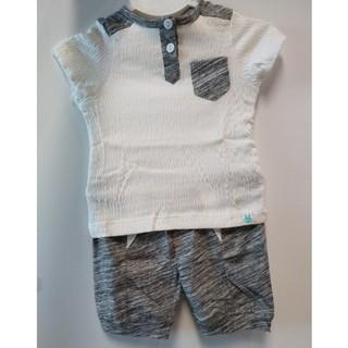 Bộ quần áo cộc tay vải nhăn bổ trụ đáp vai Little Love