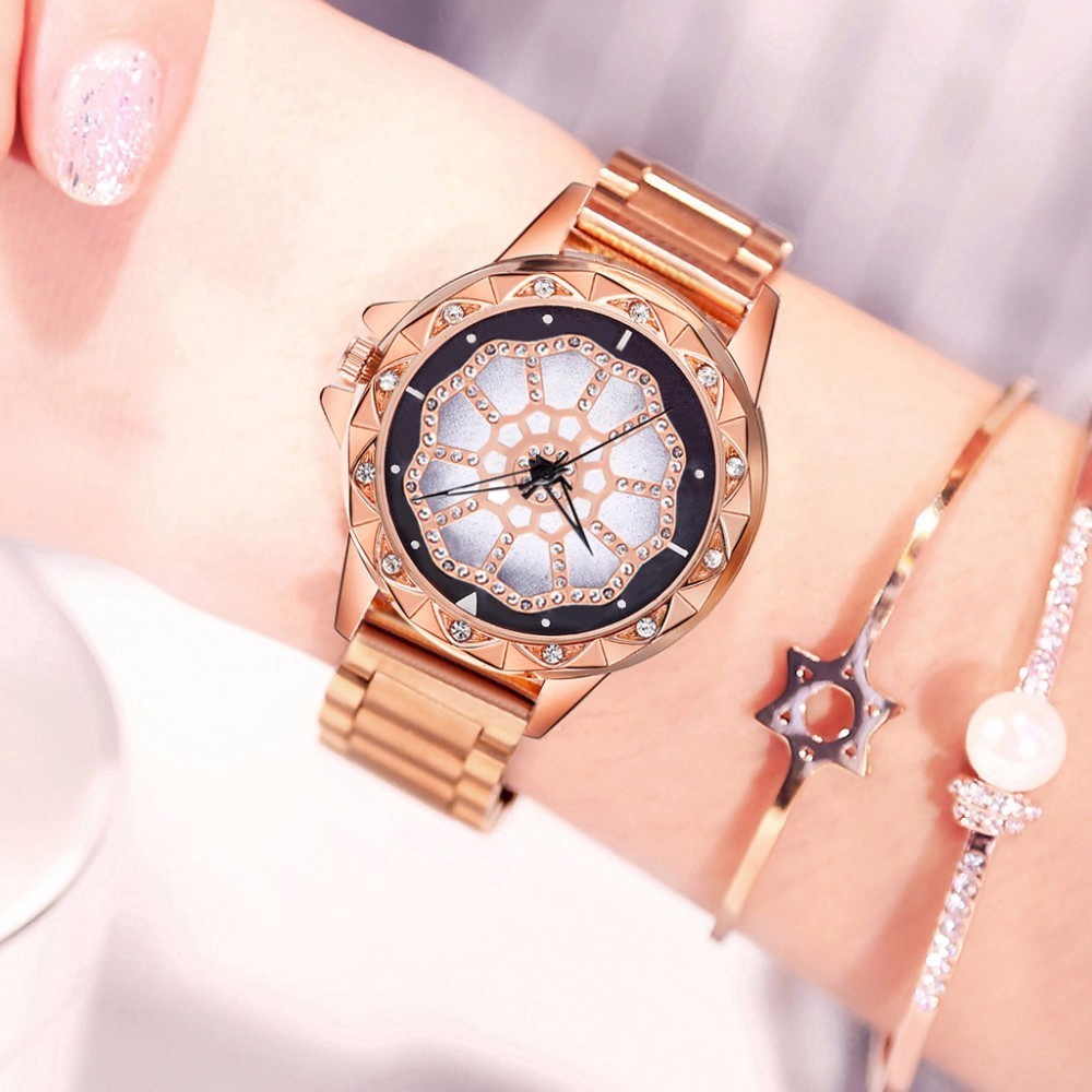 Lucky Flower Watch Luxury Women Stainless Steel Quartz Watch