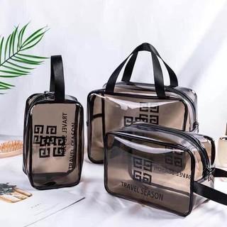 Set 3 túi nhựa trong kiểu dáng thời trang sang, tiện lợi đựng đồ đi bơi, đi biển