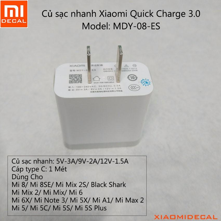 Củ sạc nhanh Xiaomi Quick Charge 3.0 - Model: MDY-08-ES - 3100863 , 1226316251 , 322_1226316251 , 99000 , Cu-sac-nhanh-Xiaomi-Quick-Charge-3.0-Model-MDY-08-ES-322_1226316251 , shopee.vn , Củ sạc nhanh Xiaomi Quick Charge 3.0 - Model: MDY-08-ES