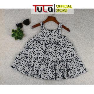 Váy Hai Dây Cho Bé Gái Vải Thô Xô 2 Lớp Vải Hàn Quốc Họa Tiết Hoa Nhí Xanh Than Nền xám Sáng