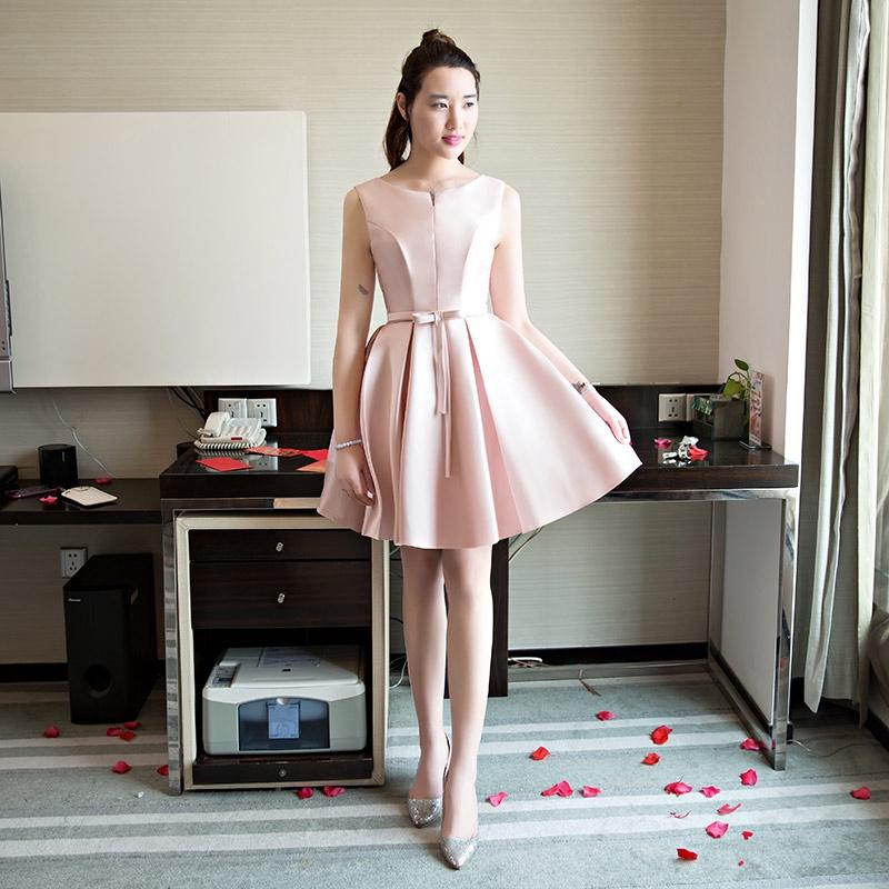 ☎Pink Bridesmaid suit 2019 new sister group Korean version girl skirt short dress female