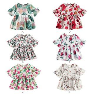 Đầm tay ngắn họa tiết hoa lá xinh xắn cho các bé