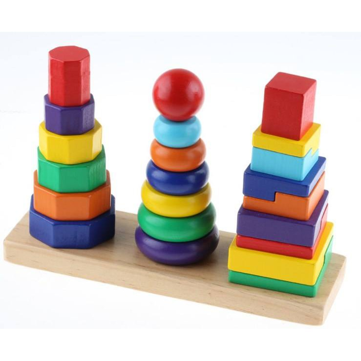 Tháp xếp chồng gỗ 3 cọc - Montessori cơ bản (Dành cho bé từ 1+)
