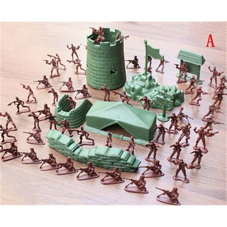 100PCS 4cm Army Men Plastic Soldiers Figure Action Kid Gift Toy