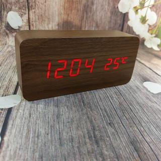 Đồng hồ gỗ led V1, vỏ nâu