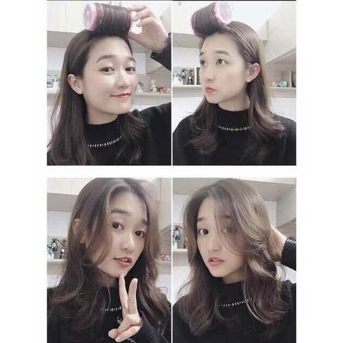 [CHÍNH HÃNG] Lô cuốn tóc mái bay Hàn Quốc lõi nhôm siêu to dài tự dính uốn mái dài