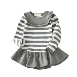 Đầm tay dài họa tiết kẻ sọc xinh xắn và thoải mái cho bé