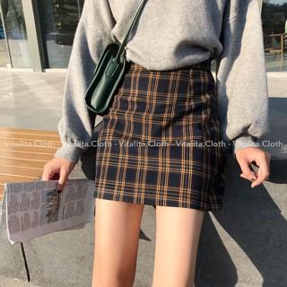 Chân váy Caro ngắn lưng cao dáng chữ A có quần lót trong - Style Ulzzang Hàn Quốc siêu xinh thumbnail