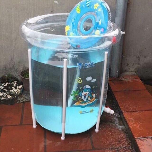 Bể bơi thành cao cho bé tặng kèm phao cổ và bơm tay,bóng, nhiệt kế đo nước