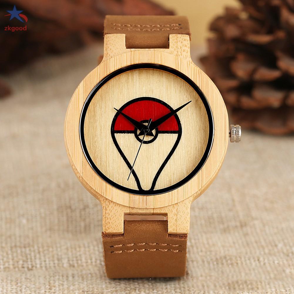 Đồng Hồ Quartz Mặt Tròn Trang Trí Hình Pokemon