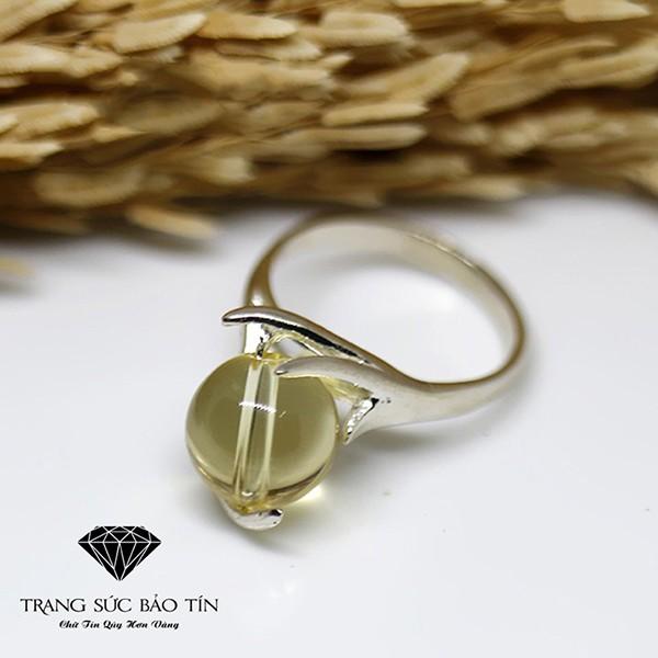 Nhẫn Bạc Nữ Đá Thạch Anh Vàng S925 Bảo Tín