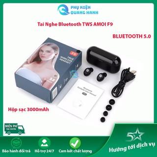 Tai  nghe Bluetooth AMOI F9 TWS 5.0 bản QUỐC TẾ,  cảm ứng chống nước IPX5, chống ồn tích hợp sạc dự phòng 3000mAh
