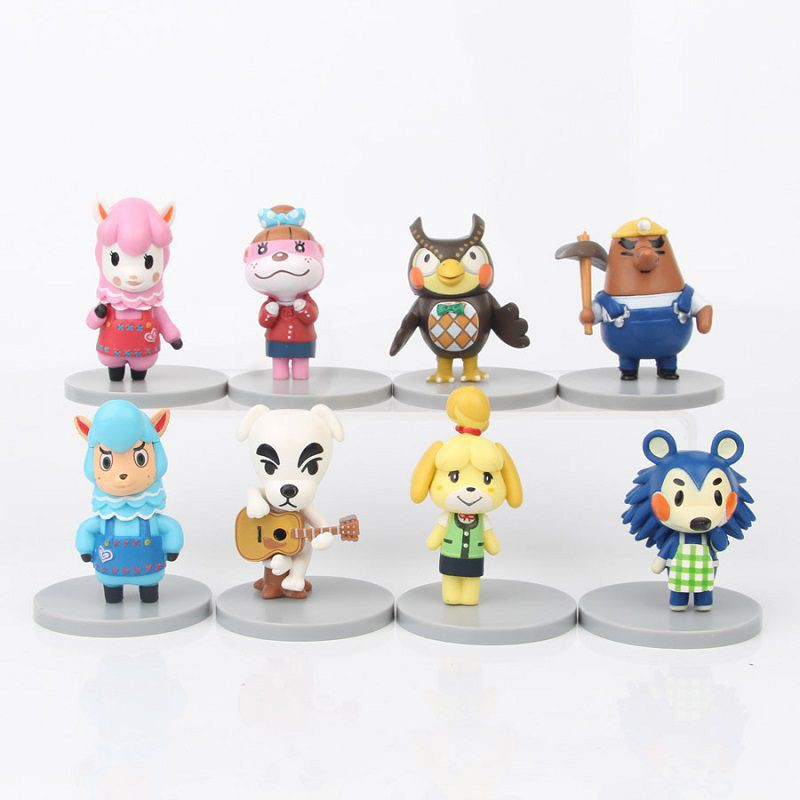 8Pcs Set Animal Crossing Figures Toy Set KK Slider Isabelle Birthday Kids Gifts Cake Decor
