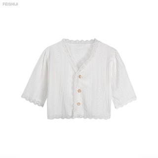 ♘❒✓Spring 2021 new style Korean sweet shirt V-neck short soft lace blouse with middle sleeves
