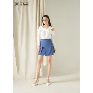 [Mã WAADD20 hoàn 20% xu đơn 99k] Chân váy xanh công sở hai vạt cách điệu - De La Rosa