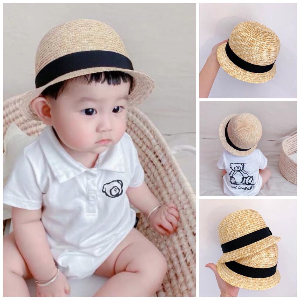 Mũ cói tròn cho bé đi biển cho bé từ 10m