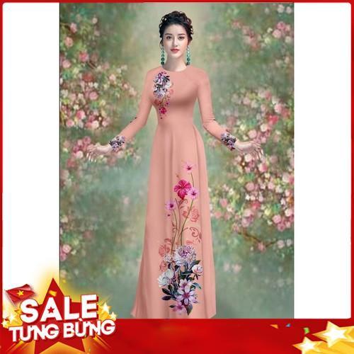 Bộ áo dài truyền thống Mai LAn in hoa CÚC BÁCH NHẬT cao cấp - y hình - siêu đẹp