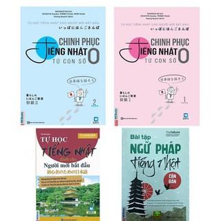 Sách - Combo Chinh Phục Tiếng Nhật Con Số 0(Tập 1+Tập 2)+Tự Học Tiếng Nhật Cho Người Mới Bắt Đầu+ BT ngữ pháp tiếng nhật