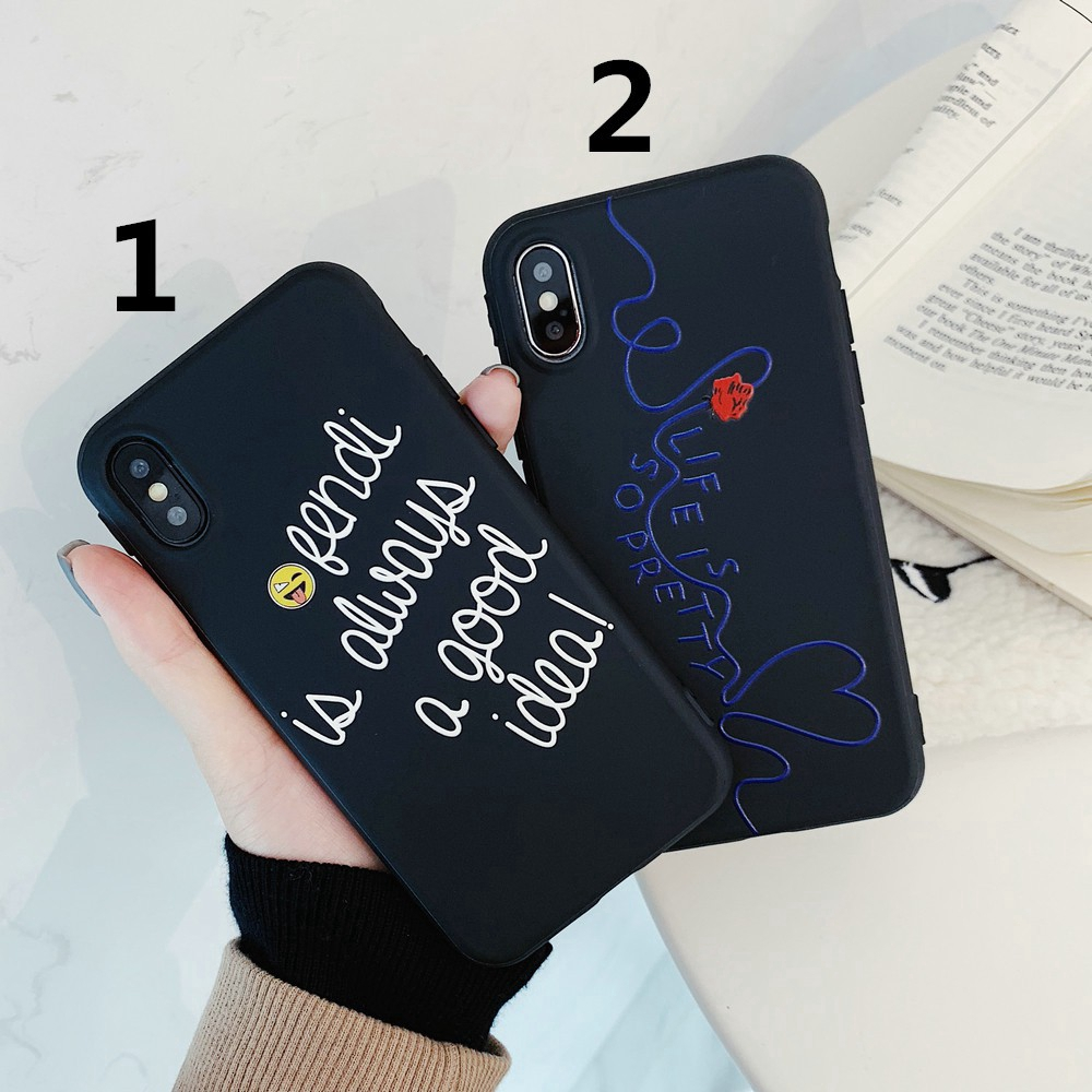 Ready Stock Fashion Relief Soft TPU Phone Case For iphone 6 6S 7 8Plus X XR XS Max