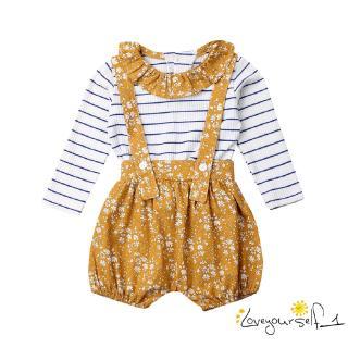 ♛loveyourself1♛-Toddler Baby Girl Peter Pan Collar Long Sleeve Stripe Ruffle T-Shirt Tops+ Bib Shorts Suspender Pants Clothing