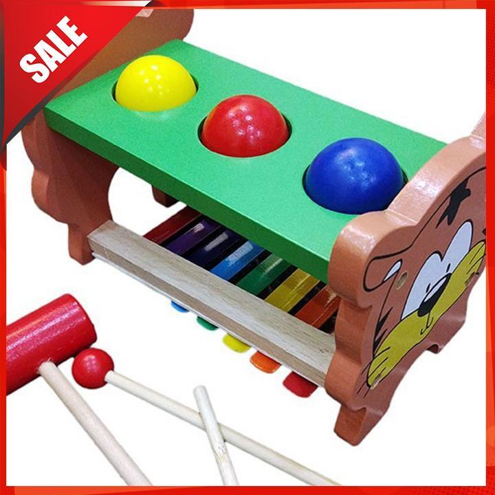 [ẢNH TỰ CHỤP] Đồ chơi đập bóng kết hợp đàn gỗ – Đồ chơi gỗ [BÁN CHẠY]
