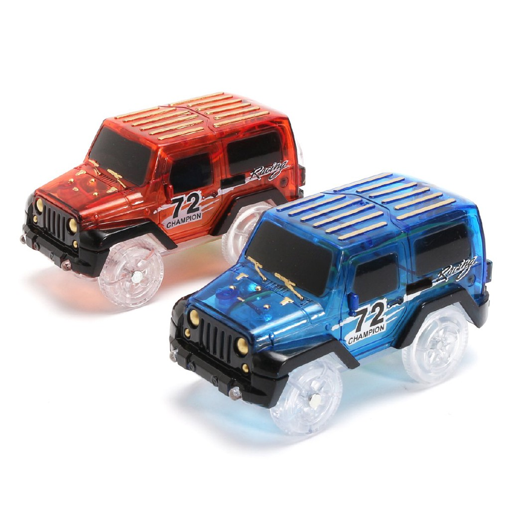 ZJ◎2Pcs Red Blue Racing Game Set Led Fun Car Toy Children Electric Rail Truck
