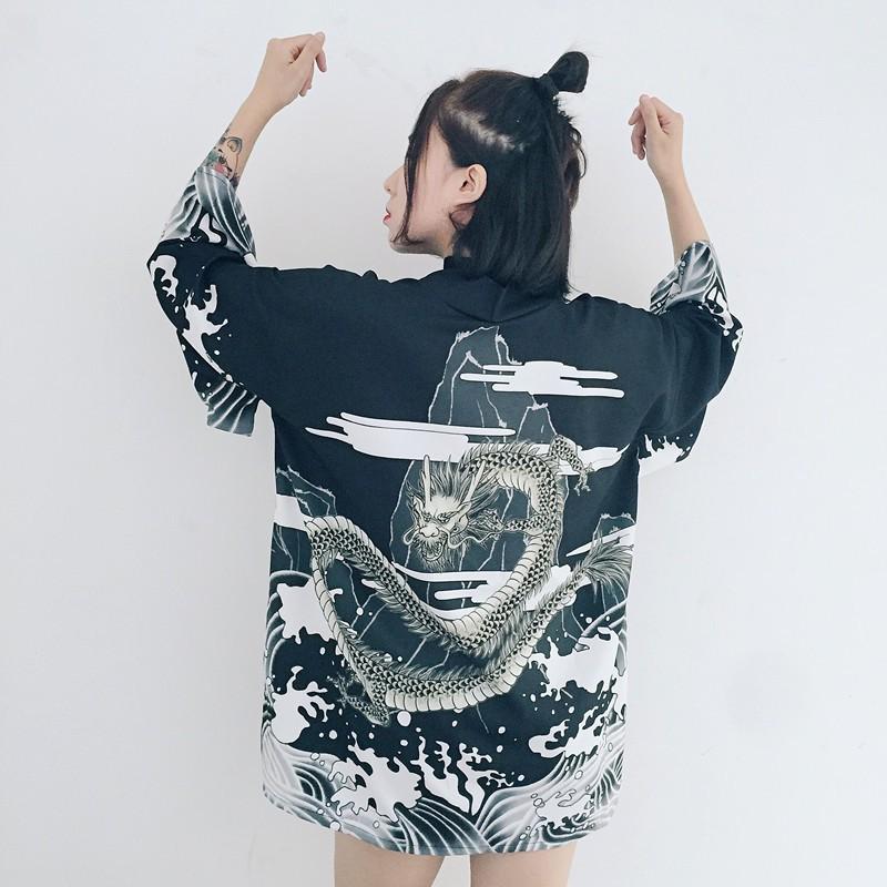 Haori Rồng Đen Nhật Bản