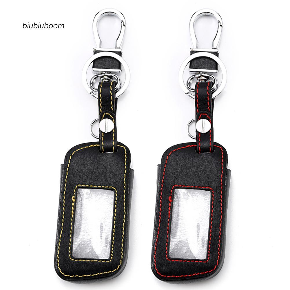 BM♠Stylish Genuine Leather Car Vehicle Remote Key Cover Case for Starline A93