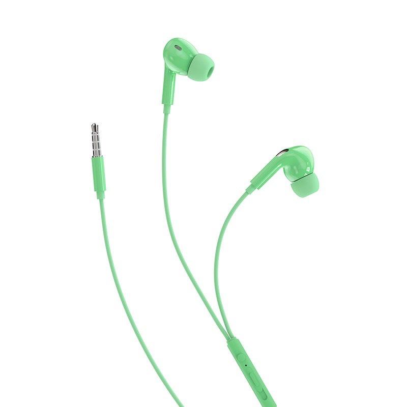 Tai nghe nhét tai có dây Rockspace ES07 cho iPhone, Samsung, Huawei, Vsmart, có mic, jack cắm 3,5 xanh, hồng, vàng,cam, Xanh lá thời trang