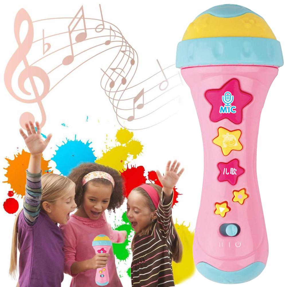 Early Education Lighting Multi-function Microphone Electronic Musical Toy Fun Gift Instrument Kids Random Color
