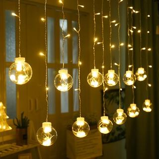Dây Đèn LED Trang Trí Bóng Tròn Trong Suốt 12 Bóng Dài 5M Có Nhiều Màu 8 Chế Độ Chớp