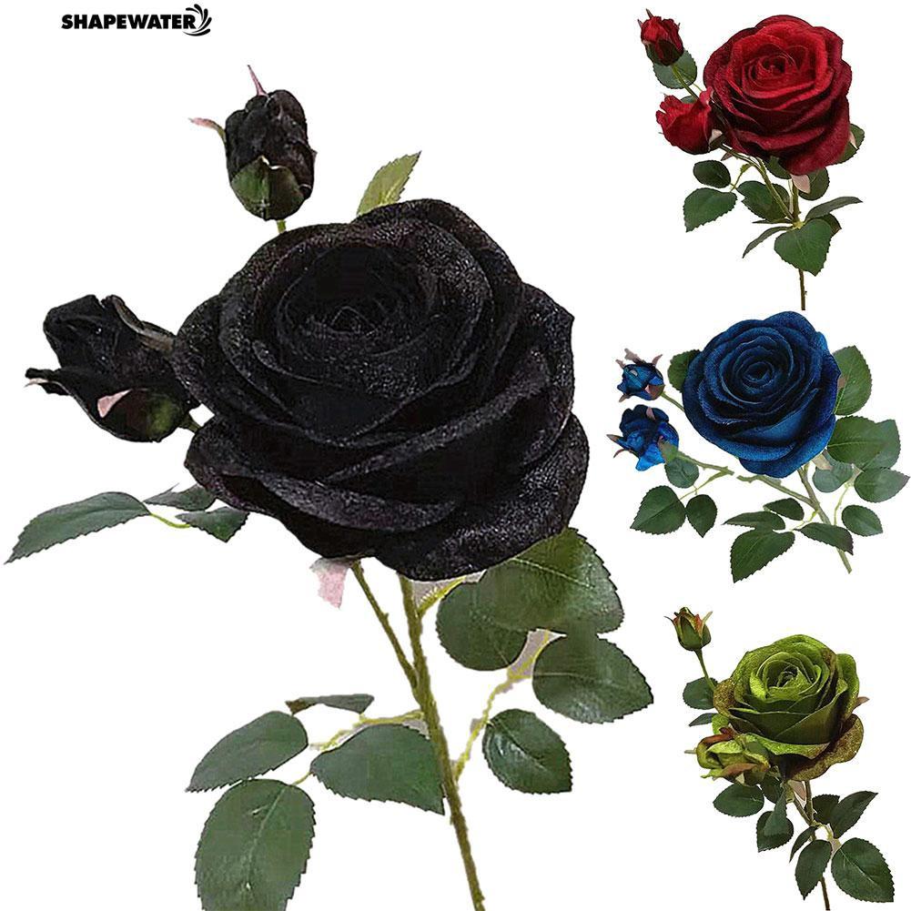 ☀1Pc Artificial Rhinestone Lint Rose Flower Bouquet Home Wedding Floral